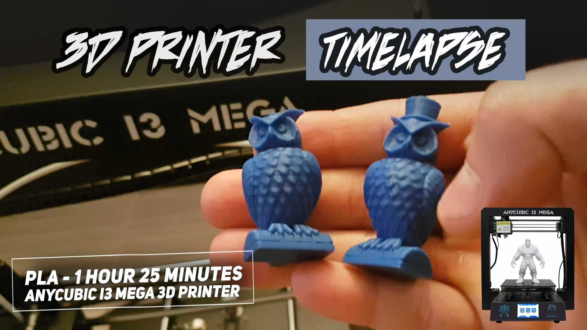 FIRST 3D PRINT & Timelapse on AnyCubic I3 MEGA 3D Printer - 3D Printed Owls