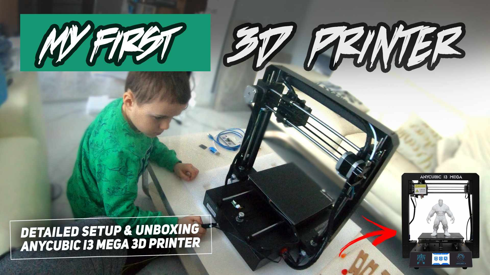 Kid Assembles ANYCUBIC I3 MEGA 3D Printer - Detailed Setup