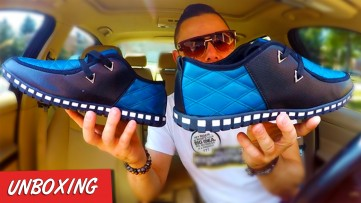 A&B FASHION SPORT Shoes - $10 Blue Black Quilted Sneakers / Chukka Boots Unboxing & Review