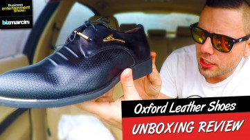 GOLD PLATED OXFORDS MEN's LEATHER SHOES! UNBOXING Review from WISH.com