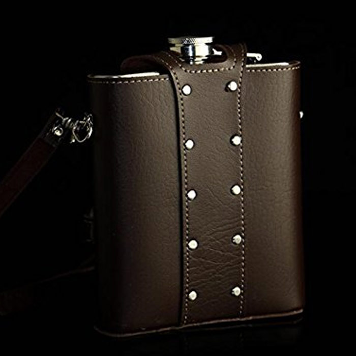 YFS 3 Pack Whiskey Flask With American Flag for Liquor and Funnel 8 Oz Leak Proof Stainless Steel Pocket Hip Flask with Soft Touch Leather Cover Brown Flask for Men