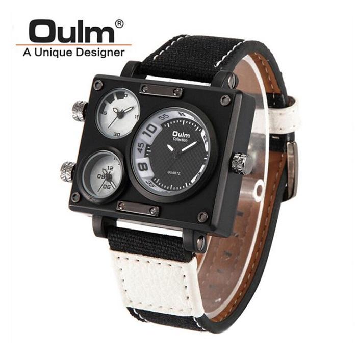 383f17d63b0 OULM Men Fabric Canvas Strap Quartz-Watch Three TimeZone White v2