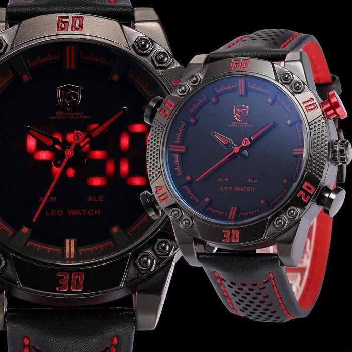 dc793e312d4 SHARK Dual Time LED Analog   Digital Sports Quartz Watch - RED   BLACK