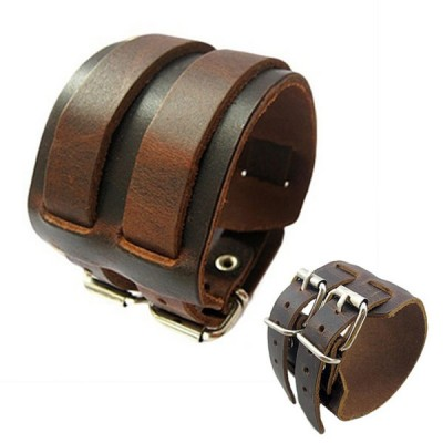 2 Layer Punk Belt Men Faux Leather Bracelet Wristband Cuff Bangle Gift - BROWN