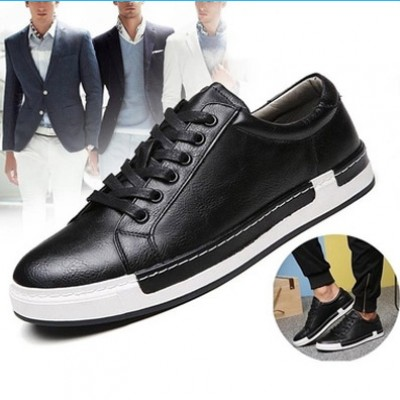 Casual Fashion Leather Flat Shoes for Men - BLACK