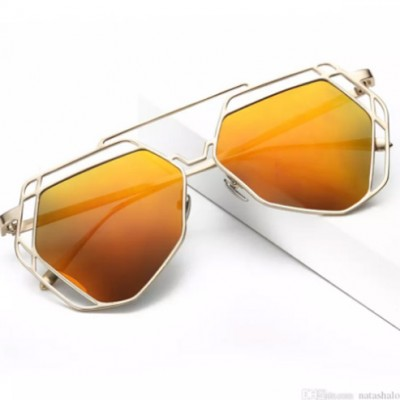 Designer Aviator UV Sunglasses Trendy Men Polygon Hollow - YELLOW