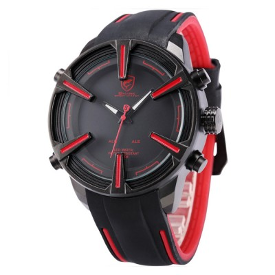 Dogfish Shark Auto Date LED Display Black Red Silicone Strap Relogio Digital Quartz Military Men Sport Watch / SH384