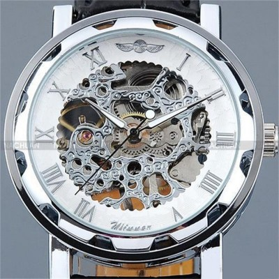 Fashion Winner Black Leather Band Stainless Steel Skeleton Mechanical Watch For Men Silver
