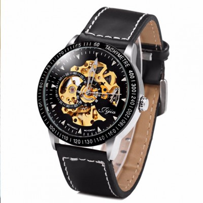 Jijia 8010 Automatic Mechanical Male Watch Hollow - out with Leather Strap Round Dial  - BLACK