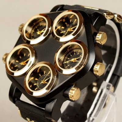 Men's Five Large Dial Street Punk Hip-hop Locomotive Wrist Watch