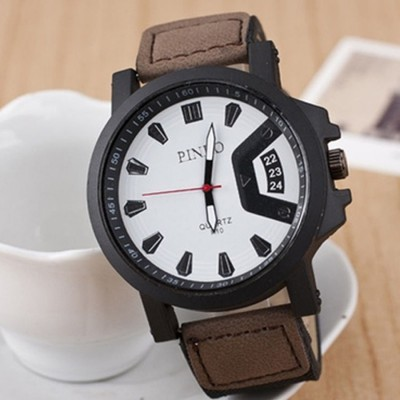Mens Leather Casual Sports Quartz Analog Wrist Watch - BROWN & WHITE