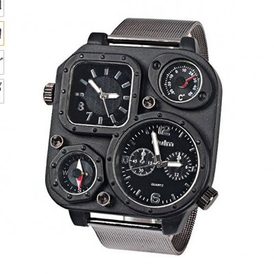 Military Men's Double Schedule Analog Watch With Thermometer and Compass - Black