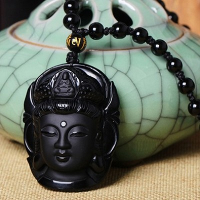 Natural Obsidian Carved Kwan-yin Pendant - BLACK