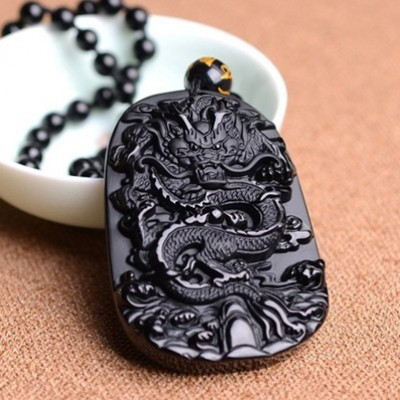 Natural Obsidian Pendant with Bead Necklace Black A Carved Zodiac Dragon Jade Fine Carving Chinese Mascot Amulet