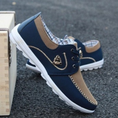 Men Trendy Casual Stylish Sneakers Shoes - BLUE & BROWN
