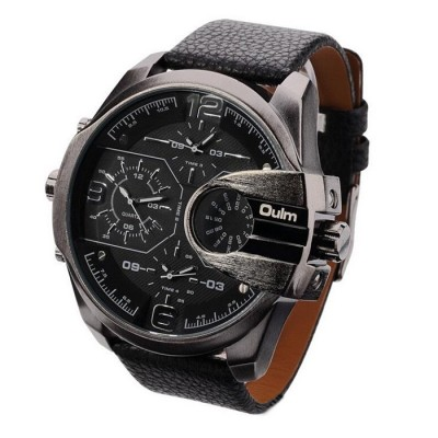OULM Brand Mens Genuine Leather Strap Big Dial Sports Quartz, 3 Time Zone Waterproof Army Wristwatch with Gift Box Black