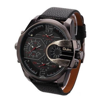 OULM Brand Mens Genuine Leather Strap Big Dial Sports Quartz, 3 Time Zone Waterproof Army Wristwatch with Gift Box Red