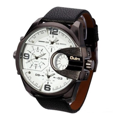 OULM Brand Mens Genuine Leather Strap Big Dial Sports Quartz, 3 Time Zone Waterproof Army Wristwatch with Gift Box White