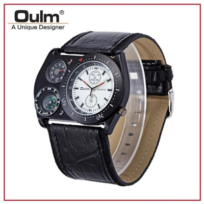 OULM HP4094 Mens Leather Strap Quartz Watch with Movement Compass and Thermometer Analog Display White