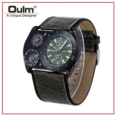 OULM HP4094 Mens Leather Strap Quartz Watch with Movement Compass and Thermometer Analog Display Green