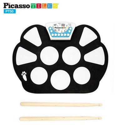 PicassoTiles PT50 Flexible Roll-Up Educational Electronic Digital Music Drum Kit w/ Recording Feature
