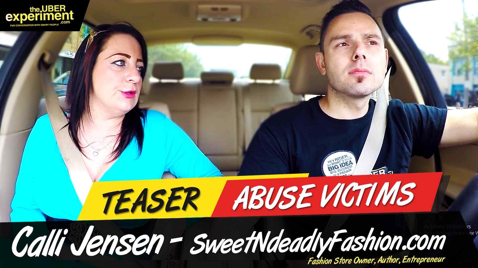 ABUSE VICTIMS - Fashion Store Owner CALLI JENSEN Rides The UBER Experiment Reality Talk Show