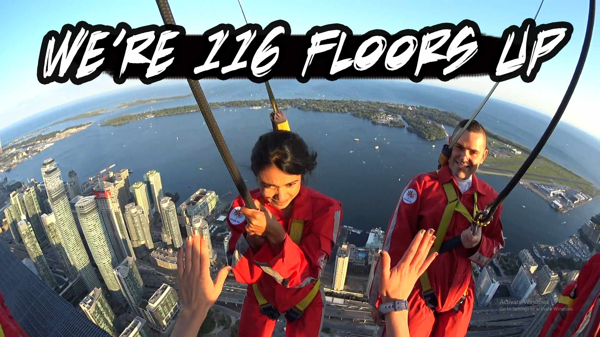 CN Tower Edgewalk 2018.  SUPER SCARY But WORTH IT.. FULL Video ExperienceWE SET A GUINESS RECORD..... CN Tower Edgewalk 2018 FULL Video Experience